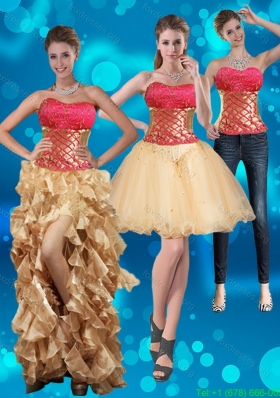 2015 Detachable Strapless Multi Color Prom Dresses with Beading and Embroidery