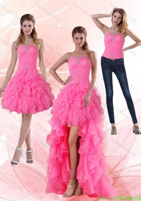 2015 Detachable Strapless Prom Dreses with Beading and Ruffled Layers