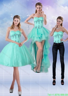 2015 Detachable Sweetheart Apple Green Prom Dresses with Appliques