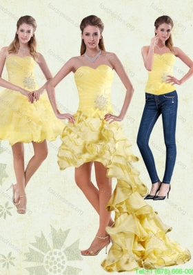 2015 Detachable Yellow Sweetheart High Low Prom Dress with Beading and Ruffled Layers
