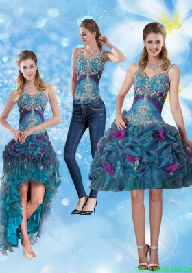 2015 Modest Spaghetti Straps Prom Dresses with Hand Made Flower and Embroidery