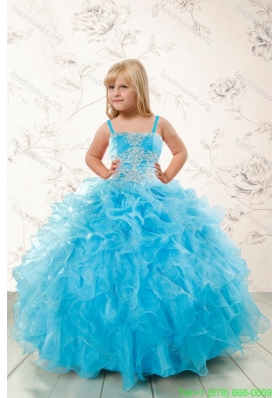 2015 New Arrival Appliques and Ruffles Aqua Blue Flower Girl Dresses