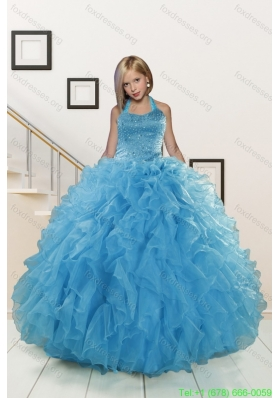 2015 New Arrival Beading and Ruffles Aqua Blue Flower Girl Dress