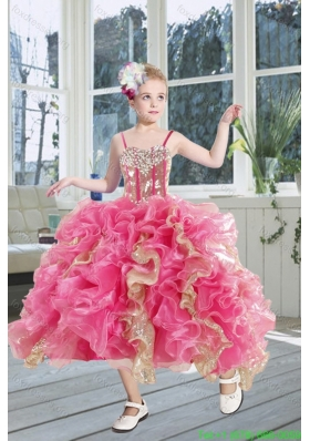 2015 New Arrival Beading and Ruffles Flower Girl Dress in Pink and Gold
