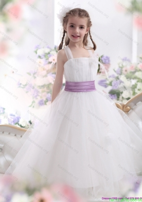 2015 New Arrival White Little Girl Pageant Dresses with Lilac Sash