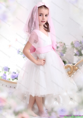 Beautiful Little Girl Pageant Dresses with Baby Pink Waistband and Hand Made Flower