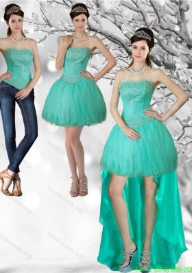 Detachable Apple Green Strapess High Low Prom Dresses with Beading