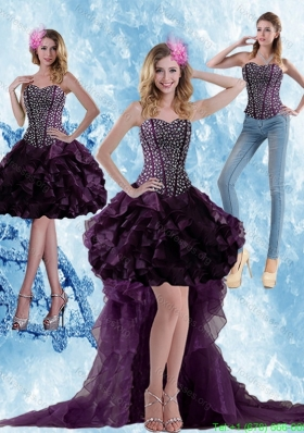 Detachable High Low Dark Purple Prom Dress with Ruffled Layers and Beading