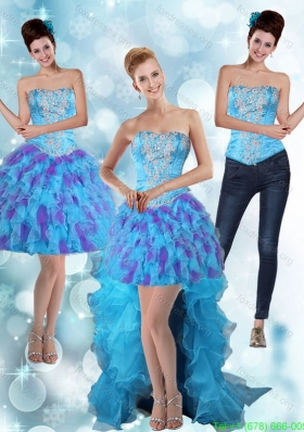 Detachable Strapless High Low Ruffles 2015 Prom Dresses in Multi Color