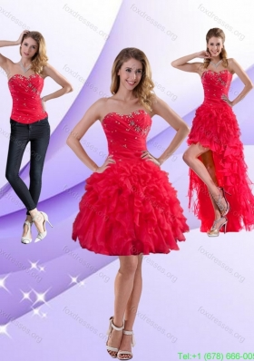 Detachable Strapless Red 2015 Prom Dresses with Ruffles and Beading