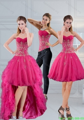 Detachable Sweetheart Hot Pink 2015 Prom Dresses with Appliques