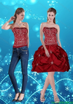Detachable Wine Red Pretty Strapless 2015 Prom Dresses with Embroidery