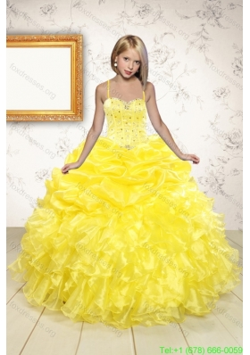 New Arrival Beading and Ruffles Flower Girl Dress in Yellow for 2015