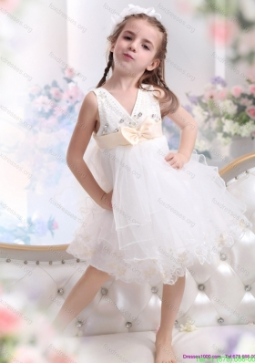 New Arrival Beading Ruffled 2015 White Flower Girl Dress with Bowknot