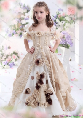 New Arrival Champagne Spaghetti Straps Flower Girl Dress with Hand Made Flowers and Ruffles