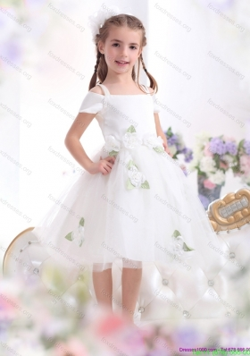 New Arrival Spaghetti Straps White 2015 Flower Girl Dress with Hand Made Flowers