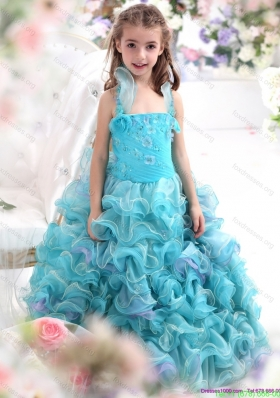 New Arrival Straps Appliques and Ruffled Layers Flower Girl Dresses in Aque Blue
