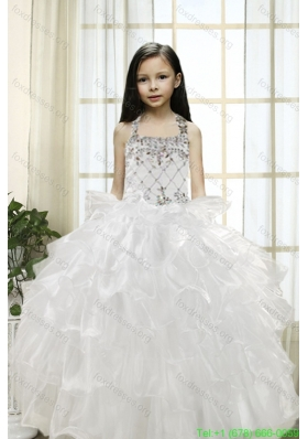 New Arrival White Ball Gown Halter 2015 Flower Girl Dresses with Beading and Ruffles