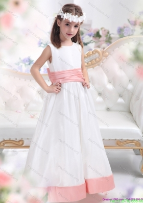 New Arrival White Scoop 2015 Flower Girl Dress with Pink Waistband