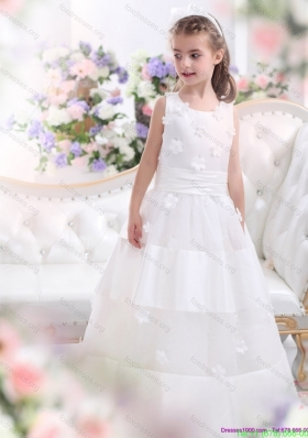 New Arrival White Scoop Flower Girl Dress with Appliques