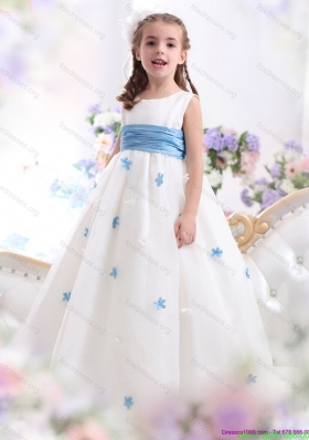 New Arrival White Scoop Flower Girl Dress with Baby Blue Waistband and Appliques