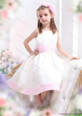 New Arrival White Scoop Flower Girl Dress with Light Pink Bowknot