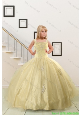 On Sales Appliques Light Yellow Little Girl Pageant Dresses