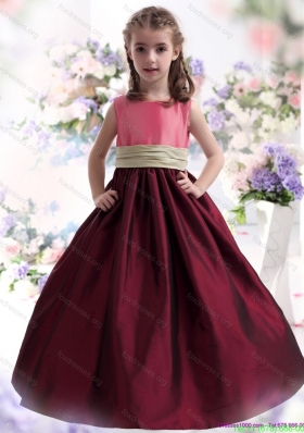PNew Arrival Multi Color Ruffled 2015 Flower Girl Dress with Sash
