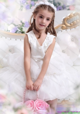 retty White Appliques Scoop Girls Party Dresses for 2015