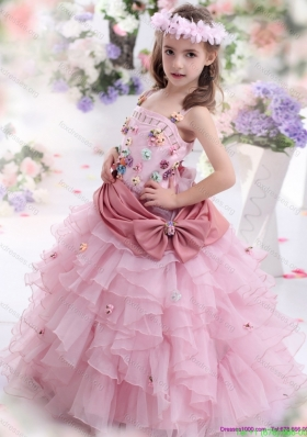 Rose Pink Pretty Girls Party Dresses with Ruffled Layers