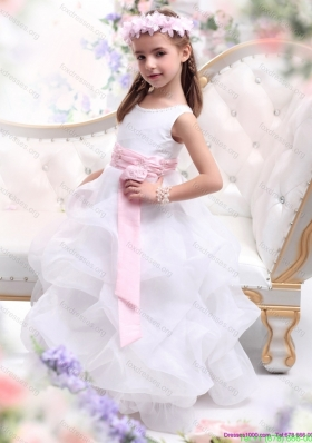 Scoop White Pretty Girls Party Dresses with Sash and Ruffles