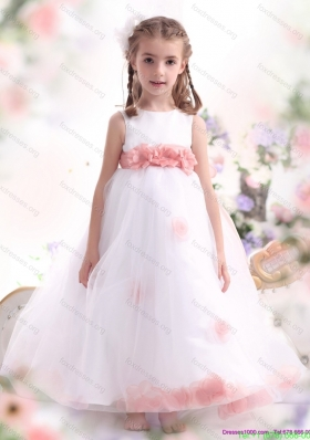White Little Girl Pageant Dresses with Pink Waistband and Hand Made Flower
