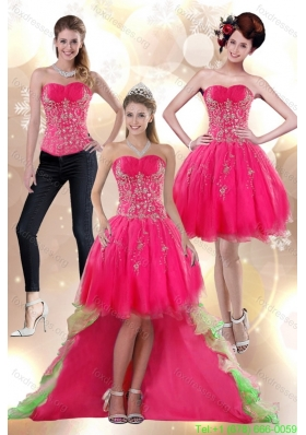 2015 Detachable High Low Appliques Strapless Prom Dress