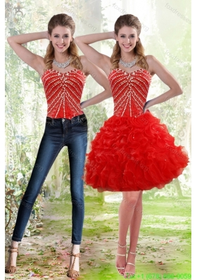 2015 Detachable Red Prom Dress with Beading and Ruffles
