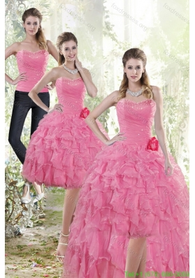 2015 Detachable Rose Pink Prom Dress with Beading and Ruffles