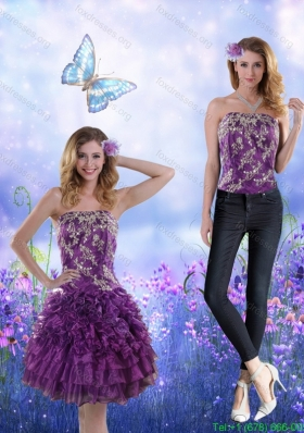2015 Detachable Strapless Purple Prom Dress with Appliques and Ruffles