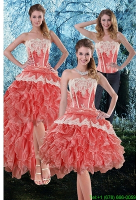 Detachable 2015 Appliques and Ruffles Strapless Prom Dress in Watermelon