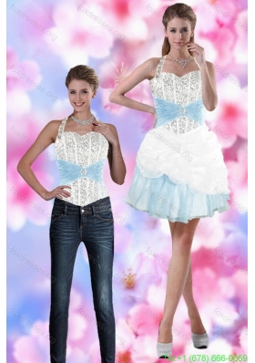 Detachable 2015 Halter Top Prom Dress with Beading and Pick Ups