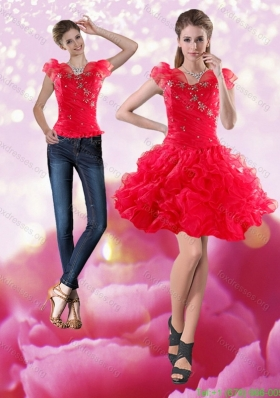 Detachable 2015 Knee Length Red Dama Dress with Beading and Ruffles