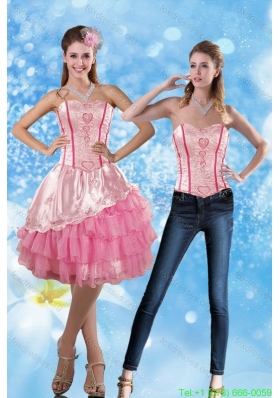 Detachable 2015 Sweetheart Embroidery Prom Dress in Rose Pink