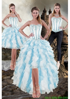 Detachable Sweetheart White and Blue 2015 Prom Dress with Appliques and Ruffles