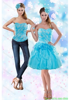 2015 Detachable Appliques and Pick Ups Strapless Prom Dress in Baby Blue