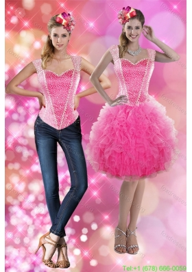 2015 Detachable Straps Beading and Ruffles Short Prom Dress in Pink