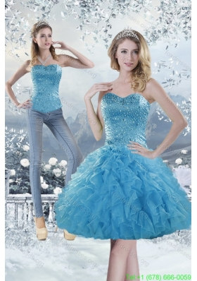 2015 DetachableSweetheart Aqua Blue Prom Dress with Beading and Ruffles