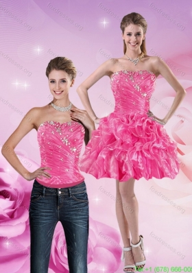 Detachable 2015 Strapless Hot Pink Prom Dress with Beading and Ruffles