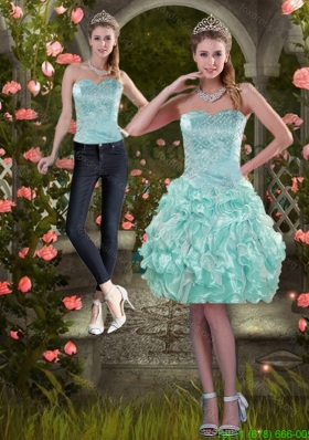 Detachable 2015 Strapless Prom Dress with Beading and Ruffles