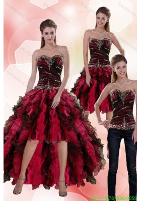 Detachable 2015 Sweetheart Multi Color Prom Dress with Beading and Ruffles