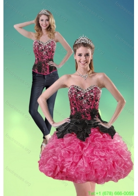 Detachable 2015 Sweetheart Multi Color Prom Dress with Ruffles and Beading