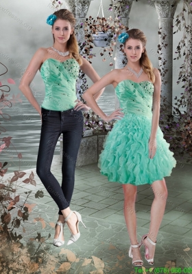 Detachable 2015 Sweetheart Prom Dress with Beading and Ruffles