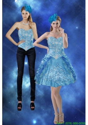 Detachable 2015 Sweetheart Prom Dress with Embroidery and Pick Ups